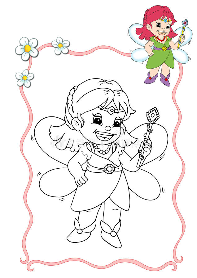 Coloring book - fairy 1 stock illustration
