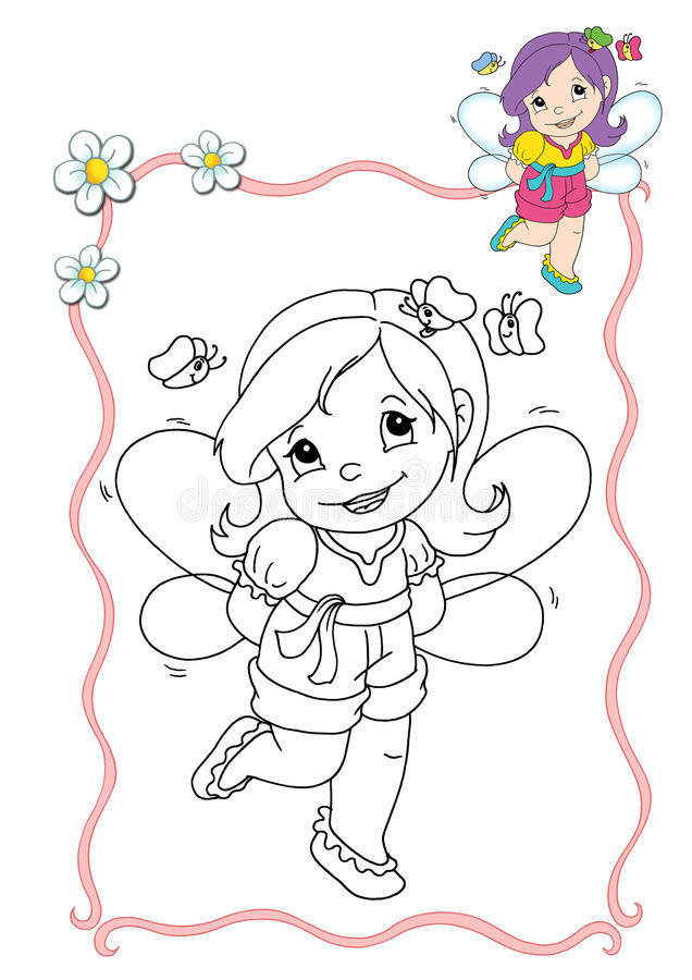 Coloring book - fairy 10 royalty free illustration