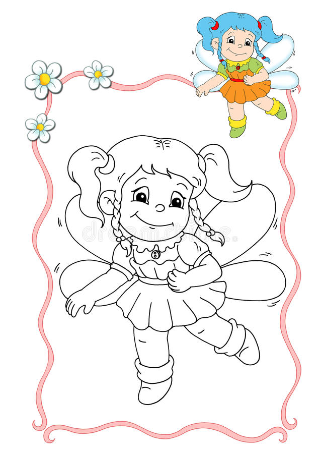 Coloring book - fairy 2 vector illustration