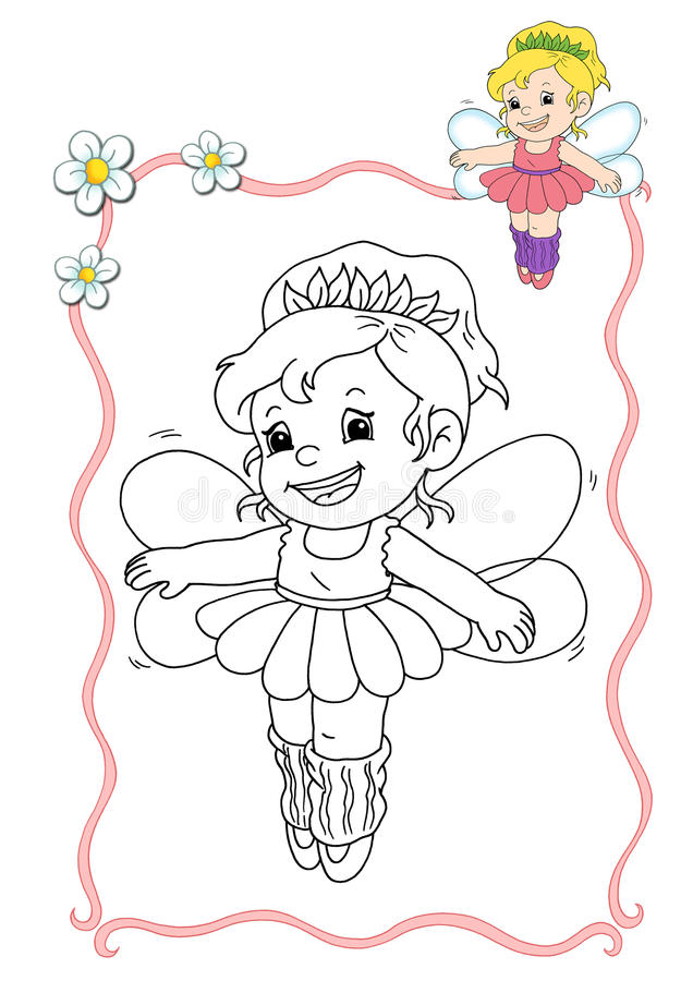 Coloring book - fairy 6 stock illustration
