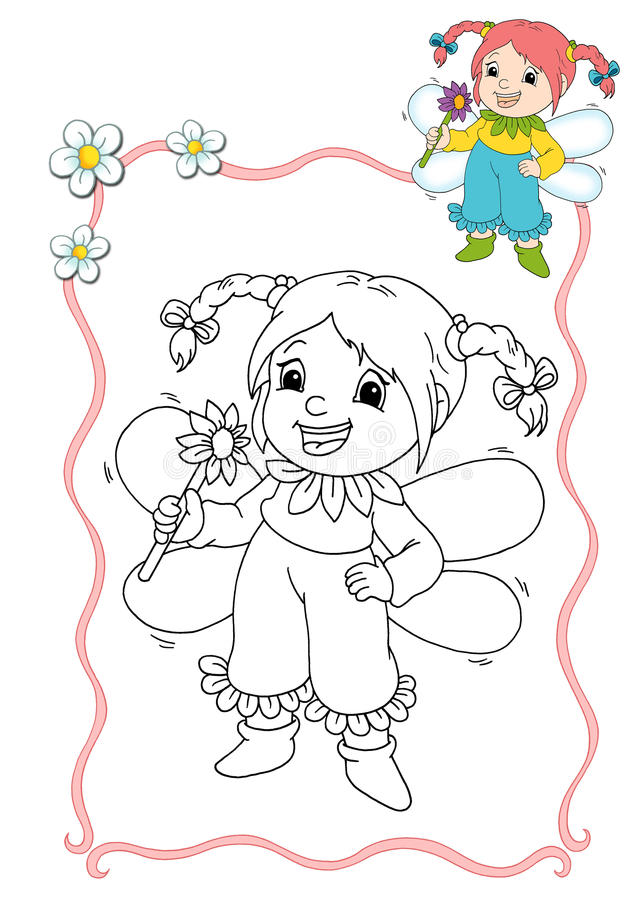 Coloring book - fairy 8 stock illustration