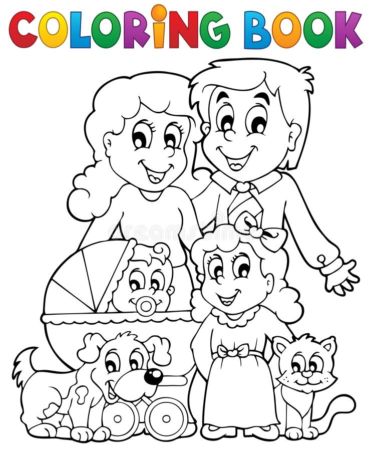 Coloring book family theme stock illustration
