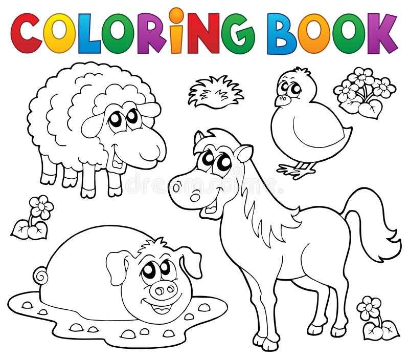 Download Coloring Book With Farm Animals 4 Stock Vector