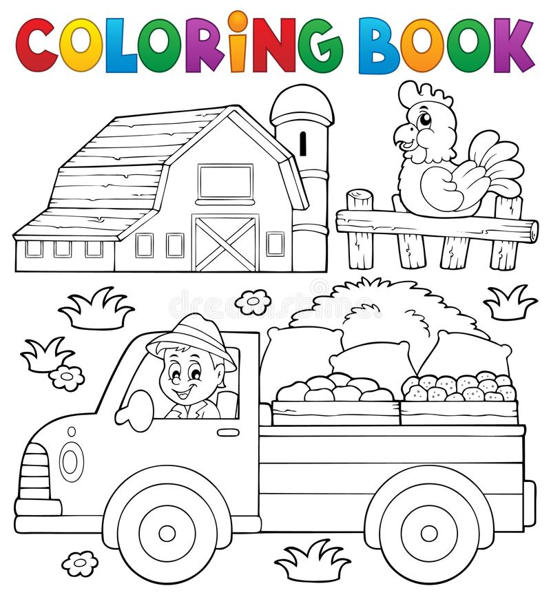 Coloring Book With Farm Truck Stock Vector - Illustration of happy ...