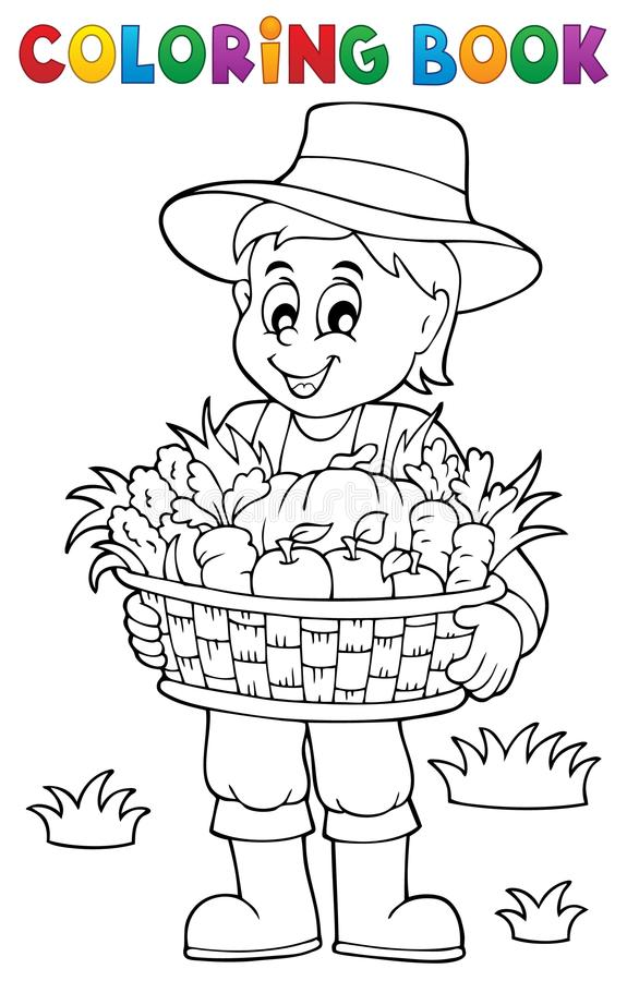 Coloring Book Farmer With Harvest 1 Stock Vector
