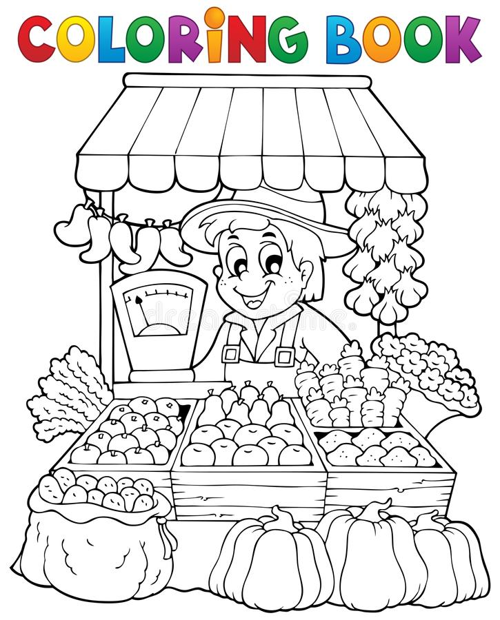 Free Coloring Book Farmer Theme 2 Royalty Free Stock Photography - 34156817