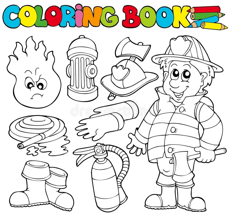 Coloring book firefighter collection. Illustration royalty free illustration