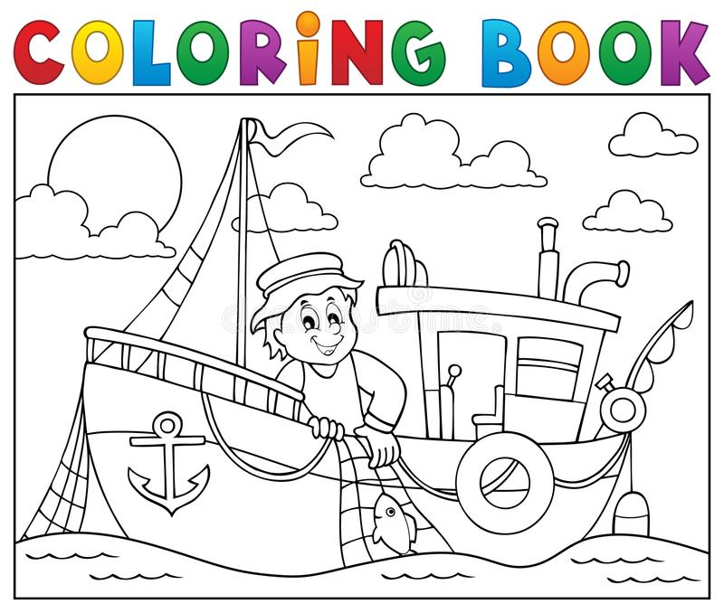 Coloring book with fishing boat theme 1 stock illustration