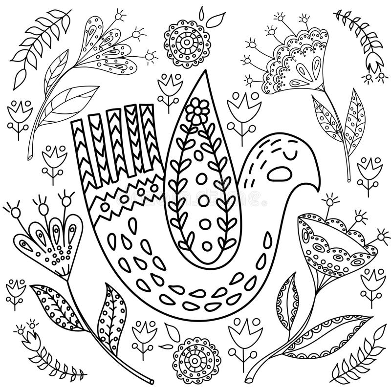 Download Coloring Book Fol Adults Folk Set Vector Blask And Whit Illustration With Beautiful Birds