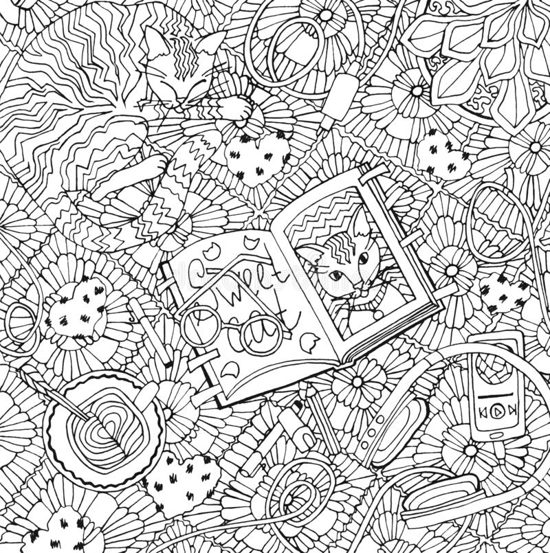 Free Coloring Book For Children And For Adults. Colouring Pictures With Cat, Sketchbook `Sweet Cat`, Plaid. Stock Photo - 186651790