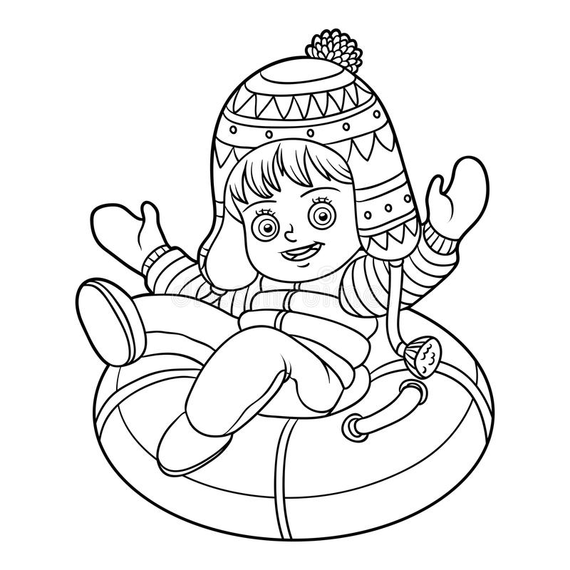 Free Coloring Book For Children, Girl Riding On The Tubing Stock Image - 99059631