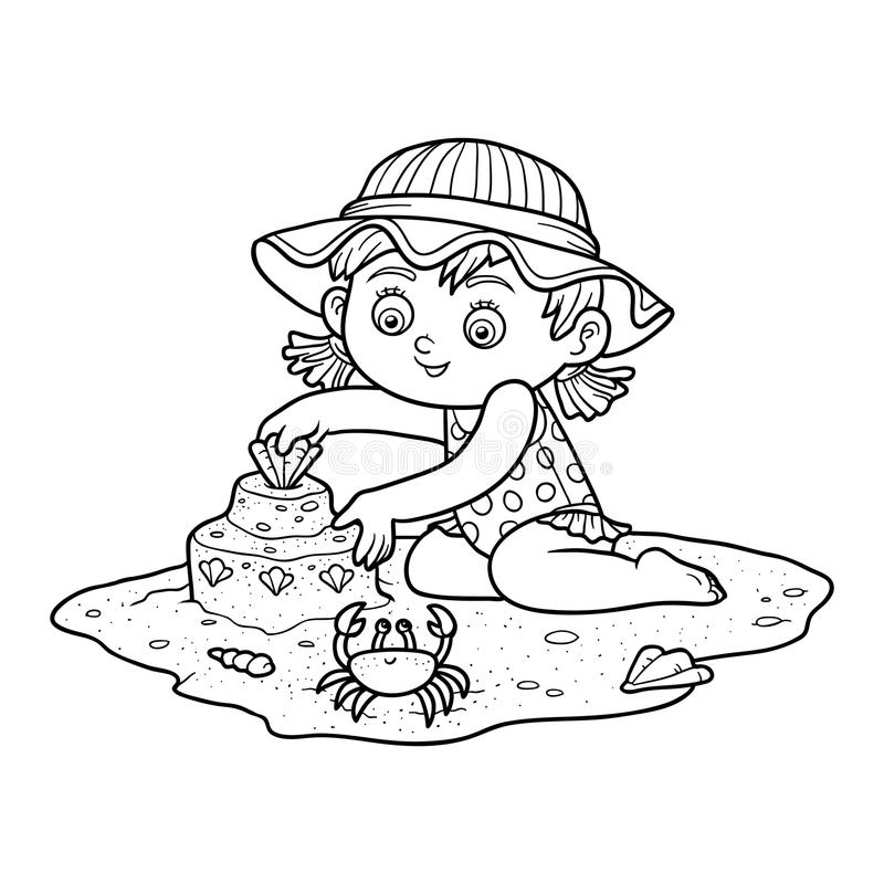 Free Coloring Book For Children. Little Girl On The Beach Royalty Free Stock Image - 70952426