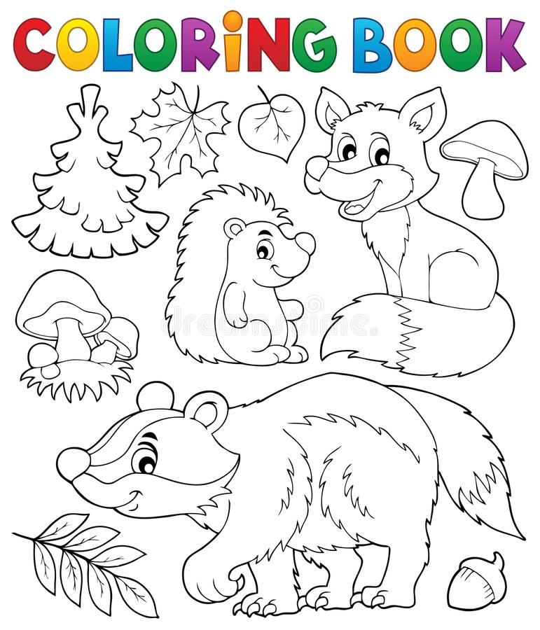 Free Coloring Book Forest Wildlife Theme 1 Stock Images - 77185924