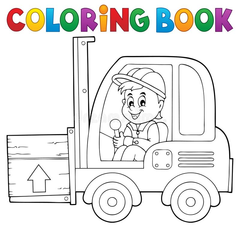 Free Coloring Book Fork Lift Truck Theme 1 Royalty Free Stock Image - 60791426