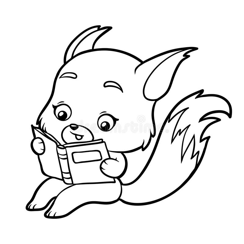Coloring book for children cartoon fox with a book
