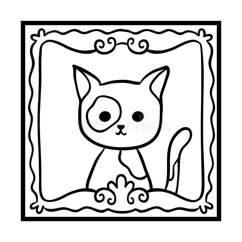 Coloring book, Framed cat photo royalty free illustration