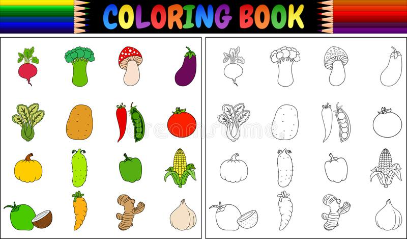 Coloring book with Fresh vegetables cartoon stock illustration