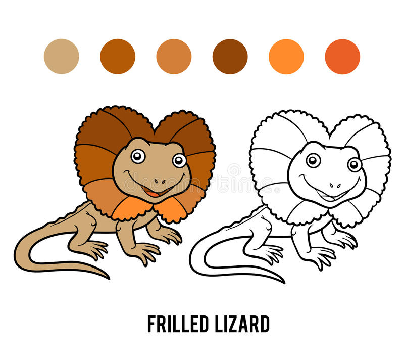 Coloring book, Frilled lizard. Coloring book for children, Frilled lizard stock illustration