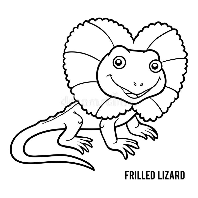 Coloring book, Frilled lizard. Coloring book for children, Frilled lizard royalty free illustration