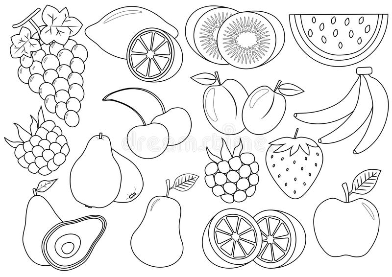 Coloring book. Fruits and berries cartoon. Icons. Vector stock illustration