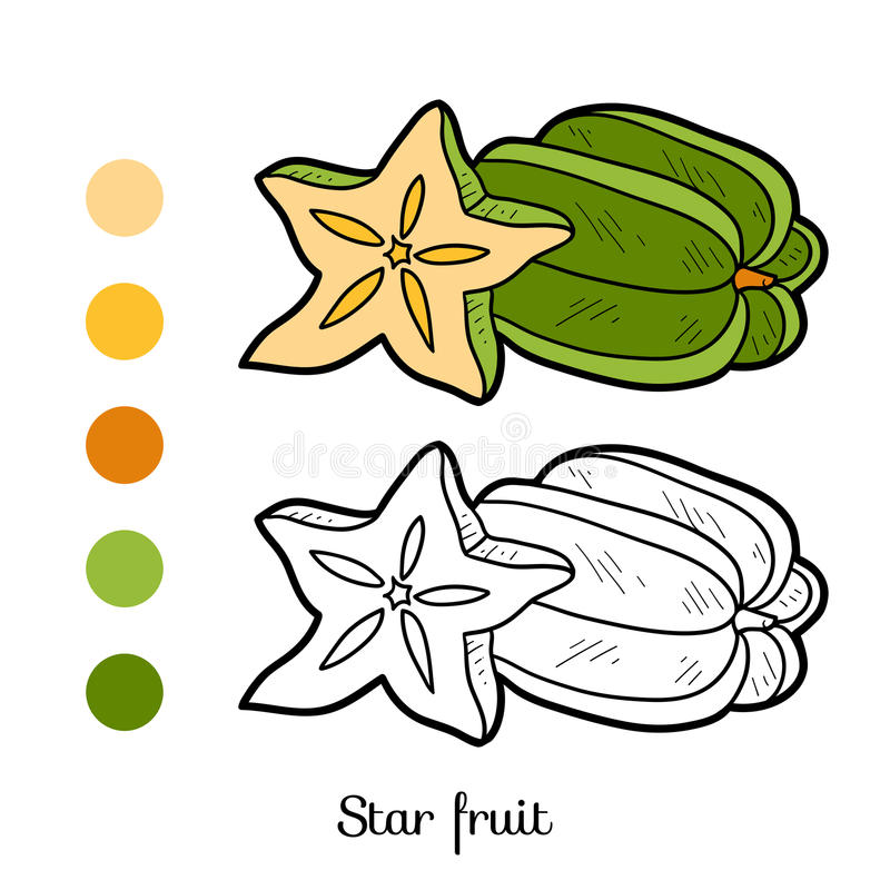 Download Coloring Book Fruits And Vegetables Star Fruit Stock Vector