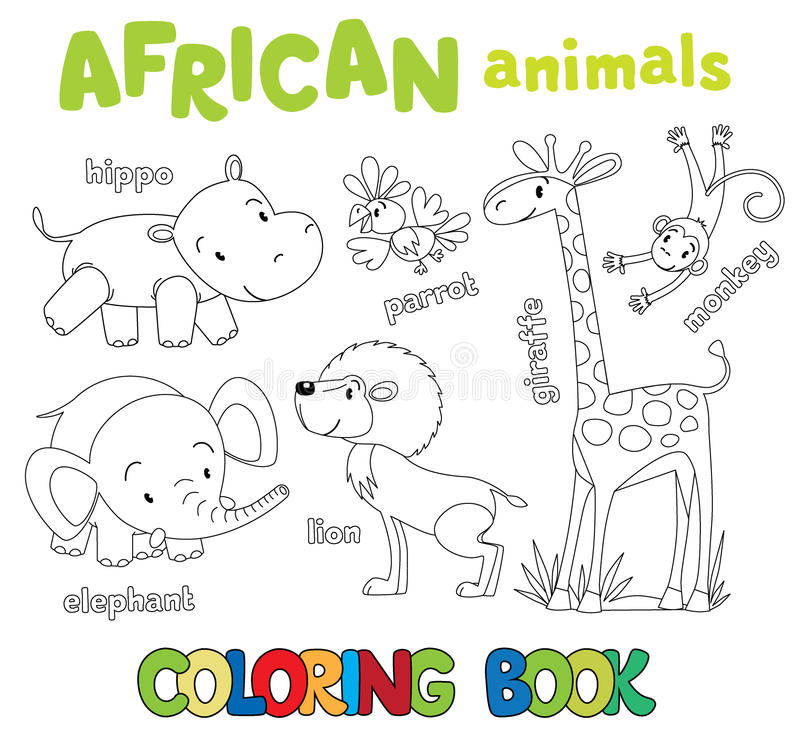 Coloring Book Of Funny African Animals Stock Vector - Illustration ...