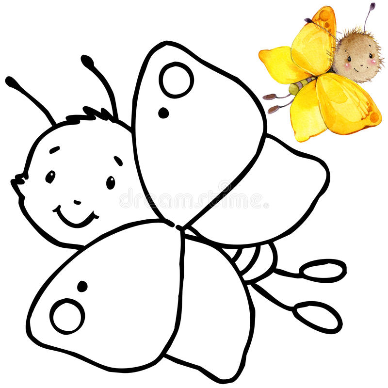 Coloring Book Funny Cartoon Insect. Stock Illustration - Image ...