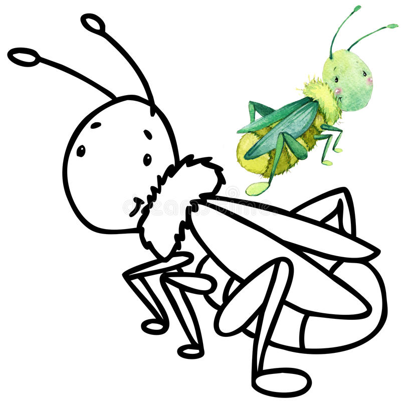 Coloring book funny Cartoon insect. stock illustration