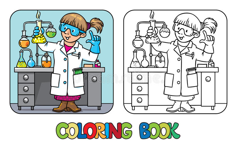 Coloring book of funny chemist or scientist. Coloring picture or coloring book of funny chemist or scientist. A woman in glasses dressed in a lab coat and gloves vector illustration