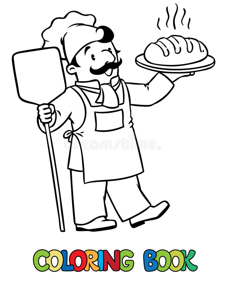 Coloring book of funny cook or baker with bread royalty free illustration