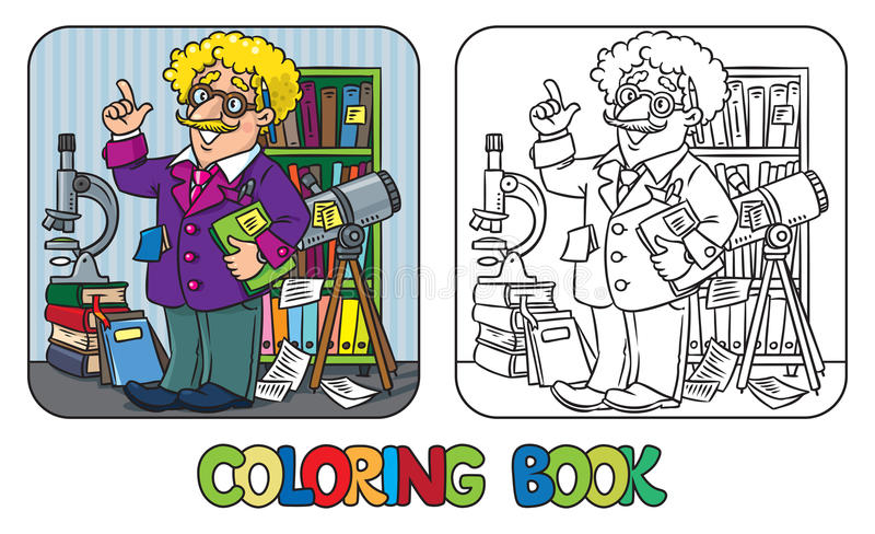 Coloring book of funny scientist or inventor. A man in glasses and suit with books, folders, microscope and telescope raised index finger. Profession series stock illustration