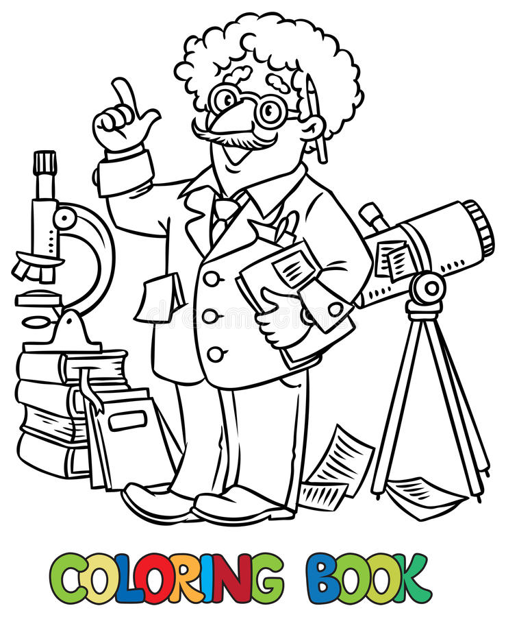 Coloring Book Of Funny Scientist Or Inventor Stock Vector ...