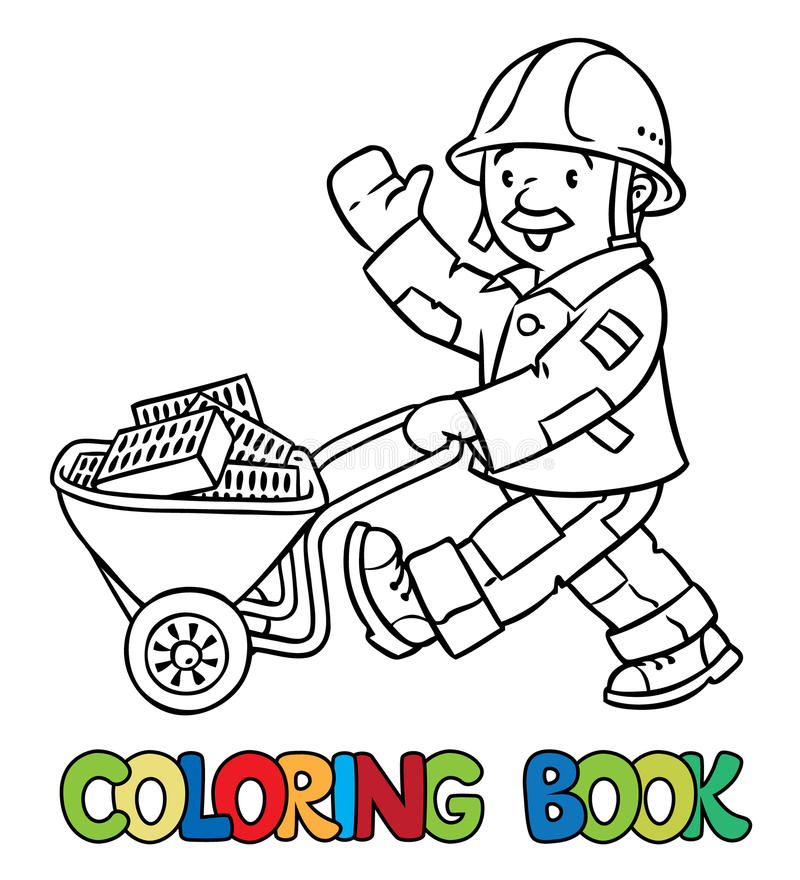 Coloring book of funny worker with cart royalty free illustration