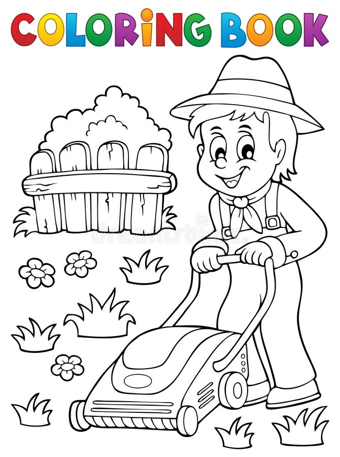 Coloring Book Gardener With Lawn Mower Stock Vector - Illustration ...