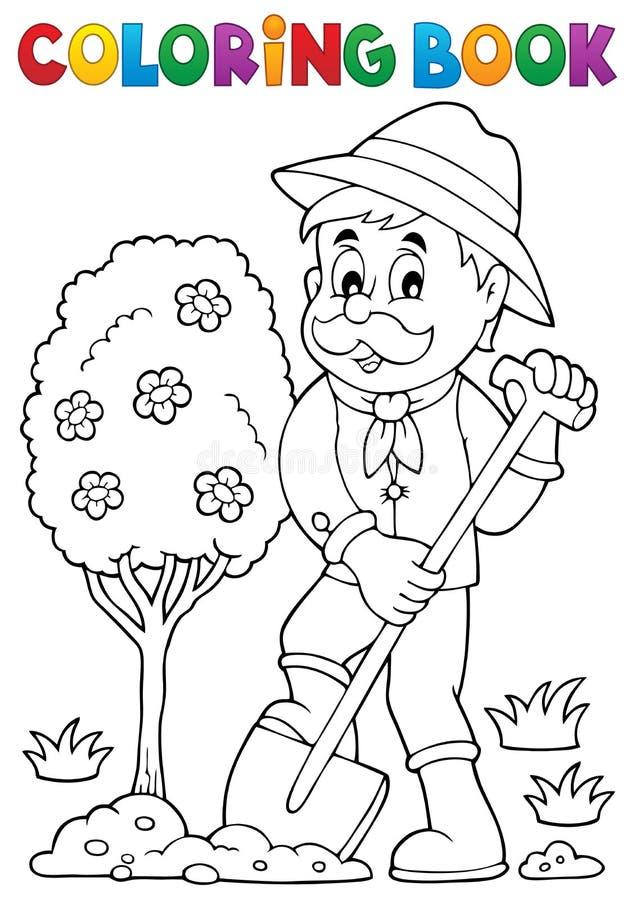 Coloring Book Gardener Planting Tree Stock Vector - Illustration of ...