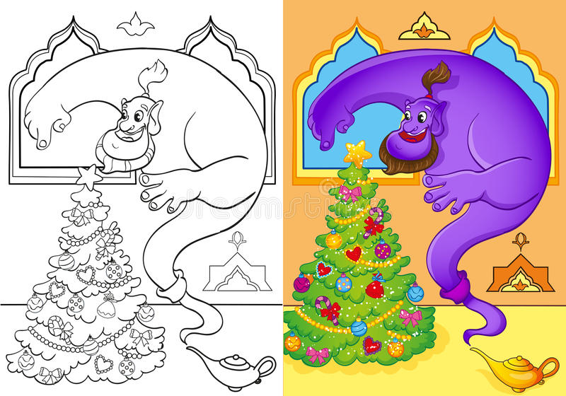 Coloring Book Of Genie Conjured A Christmas Tree vector illustration