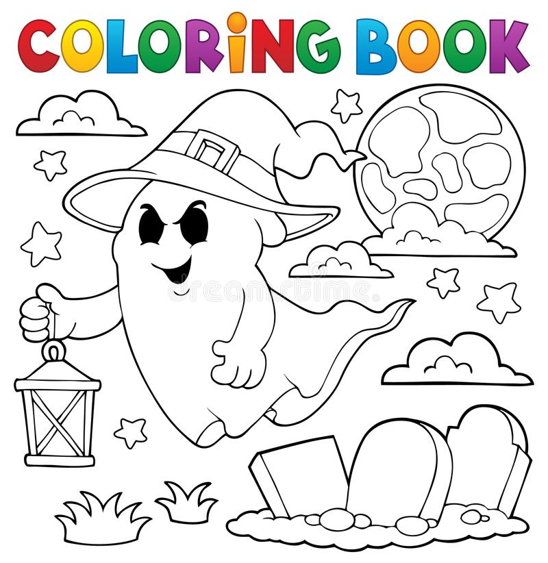 Free Coloring Book Ghost With Hat And Lantern Stock Photography - 98014692