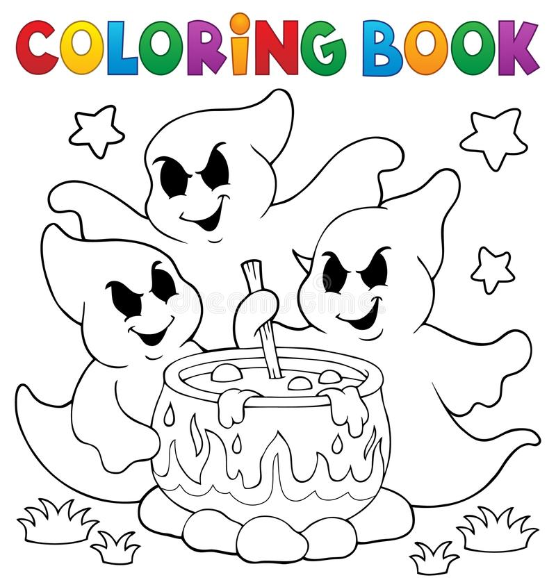 Free Coloring Book Ghosts Stirring Potion Stock Photos - 96810593