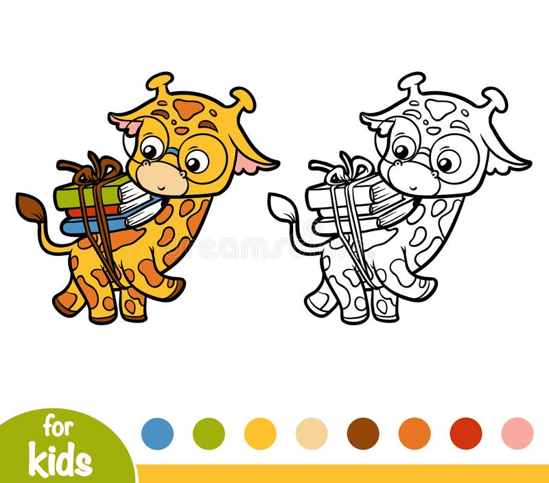 Coloring Book, Giraffe And Books Stock Vector - Illustration of ...