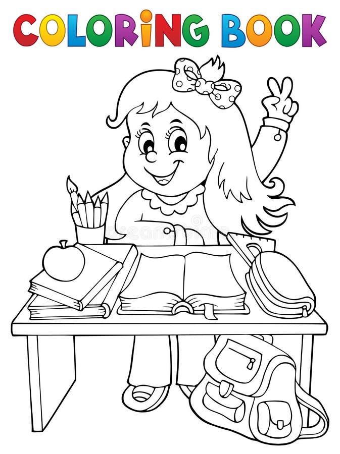 Coloring book girl behind school desk vector illustration