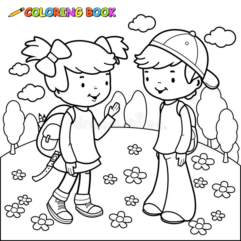 Coloring Book Girl And Boy Students Stock Vector - Illustration of ...