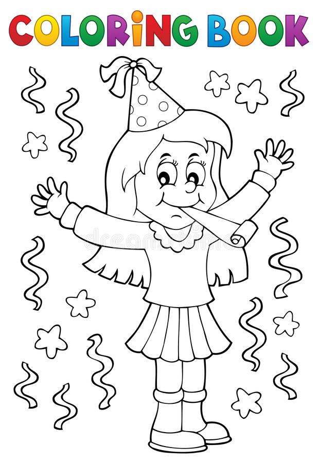 Coloring book girl celebrating theme 1. Eps10 vector illustration vector illustration