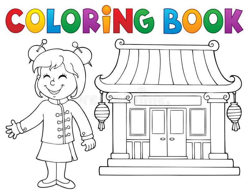 Coloring book girl by Chinese temple. Eps10 vector illustration royalty free illustration