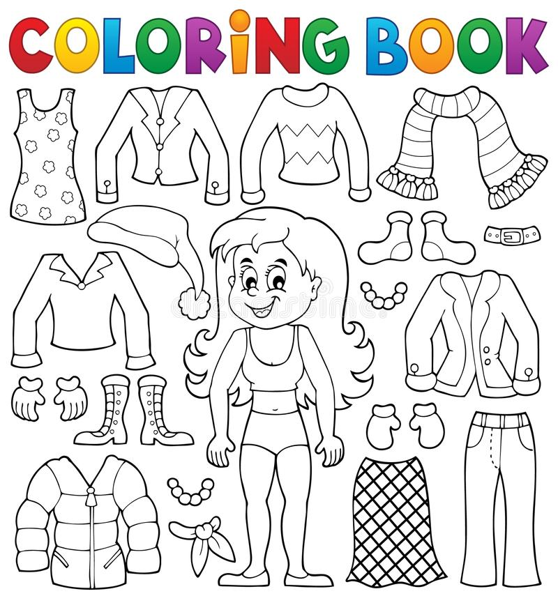 Coloring Book Girl With Clothes Theme 2 Stock Vector