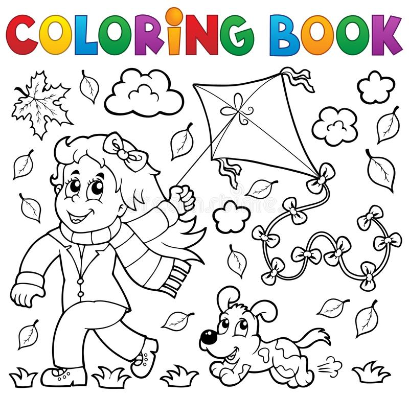 Coloring book with girl and kite royalty free illustration