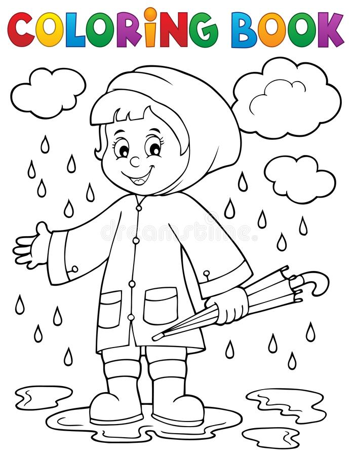 Coloring book girl in rainy weather 1. Eps10 vector illustration stock illustration