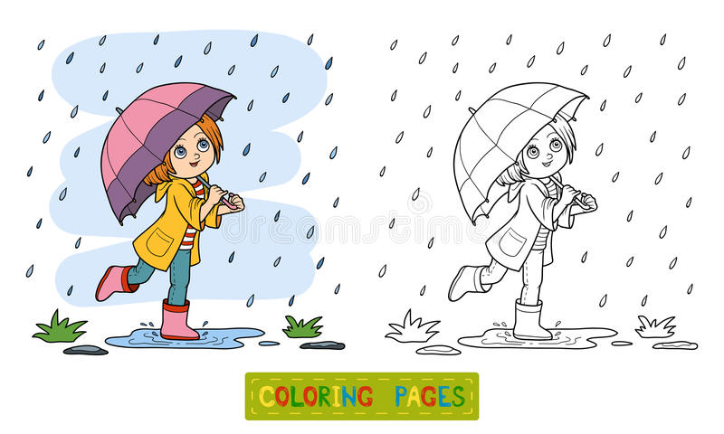 Download Coloring Book Girl Running With An Umbrella In The Rain Stock Vector