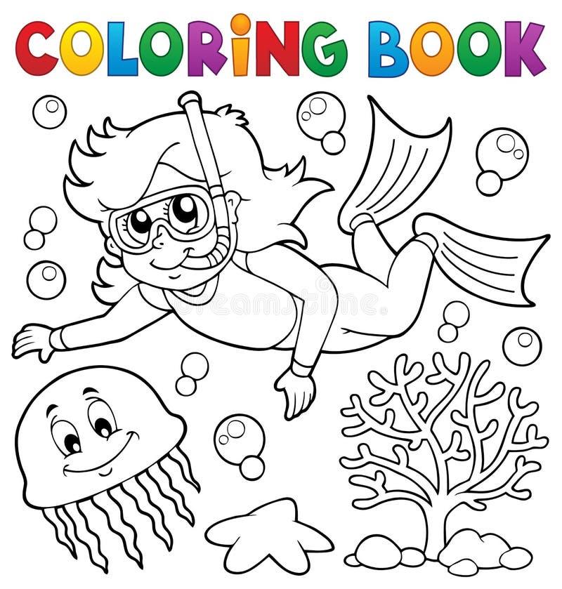 Coloring book girl snorkel diver royalty free illustration