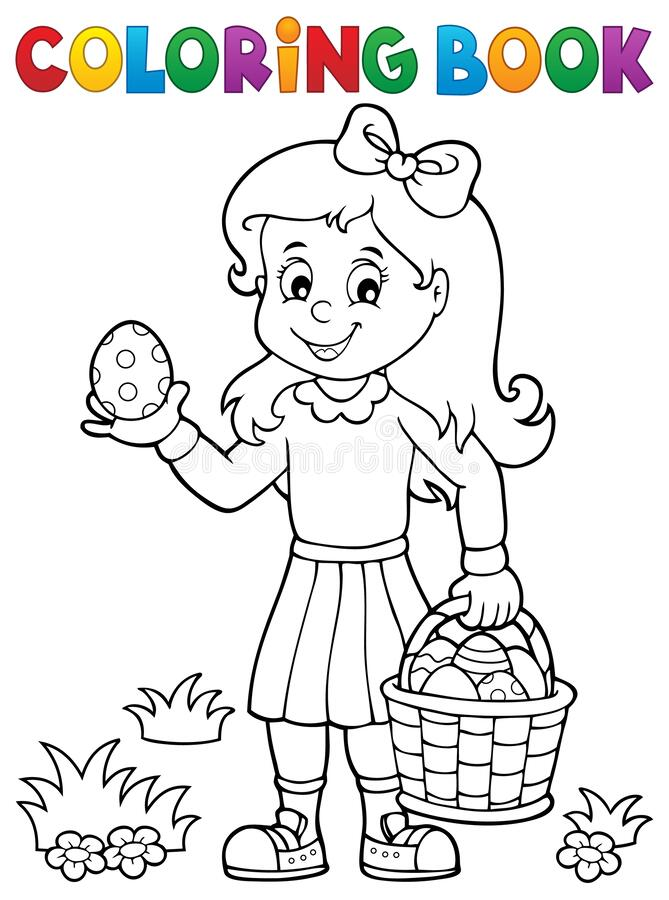 Free Coloring Book Girl With Easter Eggs 1 Royalty Free Stock Image - 172722966