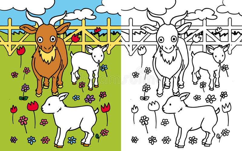 Coloring book goat stock illustration